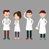 The image with 4 doctors in white coats. Vector Stock Image