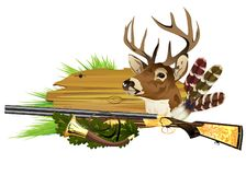 Deer head and shotgun on wooden banner. royalty free stock photos