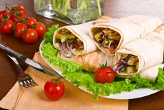 Image of a doner kebab close-up Royalty Free Stock Images