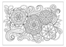Image with doodle mandalas and tangle elements Royalty Free Stock Photography