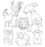 Image of a dragon dog, goat, pig, rabbit, sheep, snake and tiger Royalty Free Stock Photography