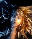 Image of dreaming girl. Surreal picture of young woman Royalty Free Stock Photography