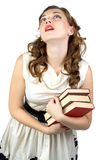 Image of the dreaming woman with books Stock Photo