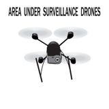 Image drone. Caption area under surveillance drones. illustration Royalty Free Stock Photo
