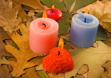Image of dry leaves and candles close-up Stock Photography