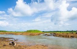 Image of dry river with beauty blue sky Royalty Free Stock Image