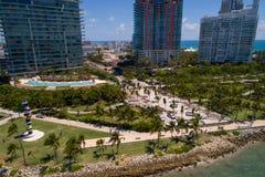 Image du sud d'antenne de Miami Beach de parc de Pointe Photographie stock libre de droits