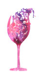 Image du verre abstrait d'aquarelle de vin rouge Peint tiré par la main dans une aquarelle sur un fond blanc Photo libre de droits