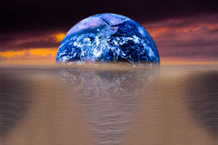 Image of earth with ocean as background Royalty Free Stock Image