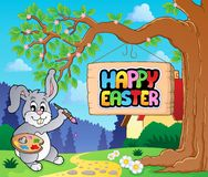 Image with Easter bunny and sign 1 Royalty Free Stock Image
