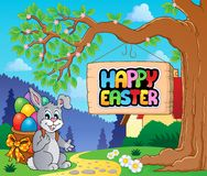 Image with Easter bunny and sign 2 Stock Images