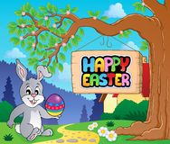 Image with Easter bunny and sign 3 Royalty Free Stock Images