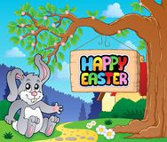 Image with Easter bunny and sign 4 Stock Images