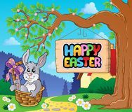 Image with Easter bunny and sign 5 Royalty Free Stock Photo