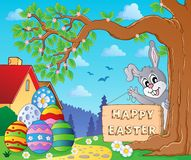 Image with Easter bunny and sign 9 Stock Photos