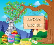 Image with Easter bunny and sign 6 Stock Photos