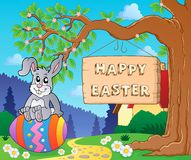 Image with Easter bunny and sign 7 Royalty Free Stock Photography