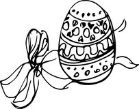 Image of the Easter egg with a pattern bandaged by a ribbon Stock Image