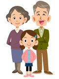 Elder couple and grandchildren royalty free illustration