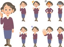 Elderly female facial expression and pose set 9 types _ whole bo royalty free illustration