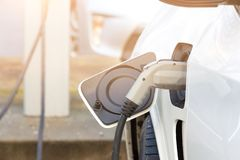 Image of electrical car charger in the car. Vancouver royalty free stock image