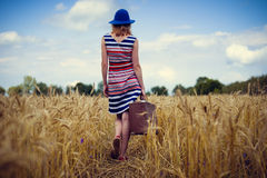 Image of elegant female in blue hat with retro Royalty Free Stock Photos