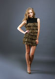 Image of elegant model in leopard print dress Stock Photo