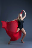 Image of emotional sexy girl dancing with cloth Royalty Free Stock Photos