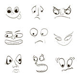 Image of emotions, fear of the wrath of angry joy. Surprisingly boring look eyebrow caricature trick Stock Image