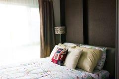 Empty modern bed in bedroom. Image of empty modern bed in bedroo stock images