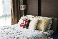 Empty modern bed in bedroom. Image of empty modern bed in bedroo royalty free stock image