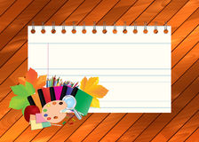 Image of empty note, card, paper, with school supplies, equipment, accessories, items, tools. Cartoon illustration on wooden backg Stock Image
