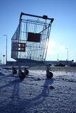 Image of empty shopping cart on empty parking near huge store Royalty Free Stock Photography