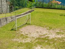 Image of soccer goal on a football field royalty free stock photos