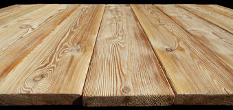 Image of empty wooden table top isolated on black background Stock Photography
