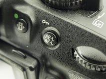 Image en gros plan de caméra de DSLR bouton en gros plan et cadran du viseur AEL-AFL photographie stock libre de droits