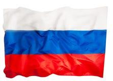 Image en gros plan de grand drapeau russe hérissé soyeux photo stock