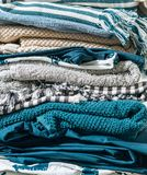 Image en gros plan de textile à la maison plié Image à la maison de concept de travail images stock