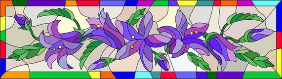 Image en verre souillé des fleurs des jacinthes des bois dans un cadre lumineux Photos libres de droits