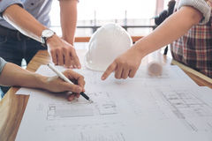 Image of engineer or architectural project, Close up of Architec Stock Photo