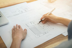 Image of engineer or architectural project, Close up of Architec Stock Image