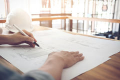 Image of engineer or architectural project, Close up of Architec Stock Photography