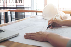 Image of engineer or architectural project, Close up of Architec Stock Photos