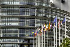 EU Building and Flags in Strasbourg stock images