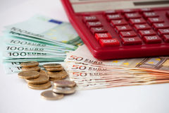 Image the euro money with calculator Stock Images