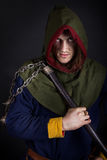 Image of evil warrior. Picture of evil warrior in cloak Stock Image