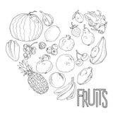 Heart shape of fresh exotic fruits. Vector graphics vector illustration