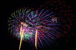 An image of exploding fireworks at night Stock Images
