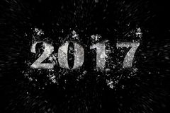 Exploding inscription 2017 on a black background Stock Photography