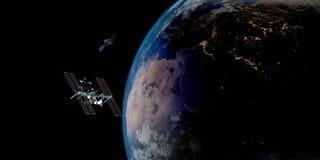 Image extrêmement détaillée et réaliste de la haute résolution 3D d'une terre orbitale satellite Tiré de l'espace Images stock